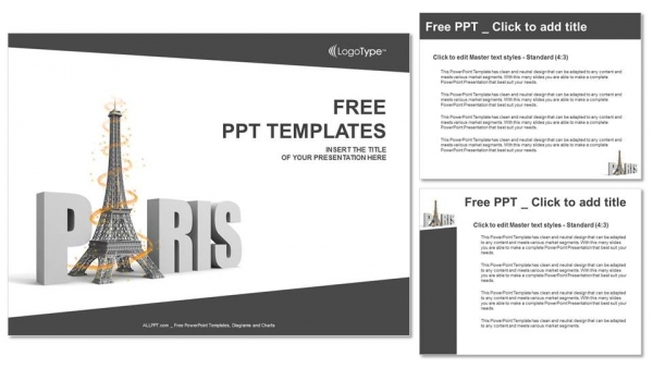 Free Paris Word With Eiffel Tower Ppt Templates Free Powerpoint