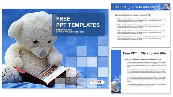 Teddy-bear-reads-a-book-PowerPoint-Templates